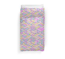 Geometric Lanes (Glam Pink/Yellow/Teal) Duvet Cover
