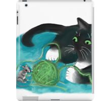 Mouse and Kitten Play with Green Yarn  iPad Case/Skin