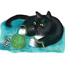 Mouse and Kitten Play with Green Yarn  by NineLivesStudio