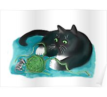 Mouse and Kitten Play with Green Yarn  Poster