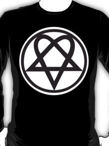 Heartagram - Black on White T-Shirt