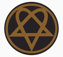 Heartagram - Gold on Black One Piece - Long Sleeve