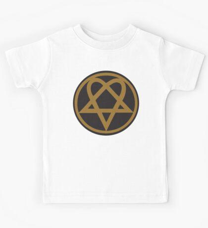 Heartagram - Gold on Black Kids Tee