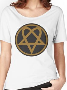 Heartagram - Gold on Black Women's Relaxed Fit T-Shirt