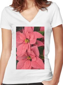 Christmas Greetings with a Vivacious Pink Poinsettia - a Vertical View Women's Fitted V-Neck T-Shirt