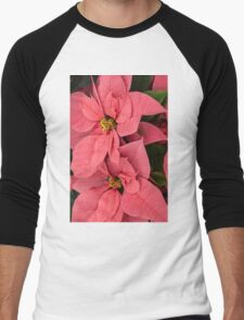 Christmas Greetings with a Vivacious Pink Poinsettia - a Vertical View Men's Baseball ¾ T-Shirt