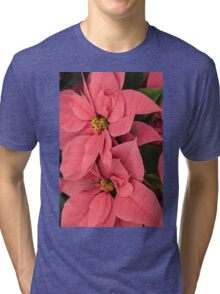 Christmas Greetings with a Vivacious Pink Poinsettia - a Vertical View Tri-blend T-Shirt