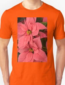 Christmas Greetings with a Vivacious Pink Poinsettia - a Vertical View T-Shirt