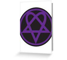 Heartagram - Purple on Black Greeting Card