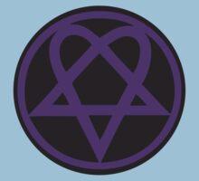 Heartagram - Purple on Black Kids Tee