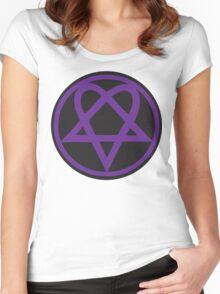 Heartagram - Purple on Black Women's Fitted Scoop T-Shirt