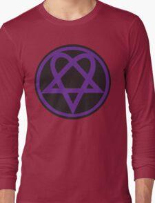 Heartagram - Purple on Black Long Sleeve T-Shirt