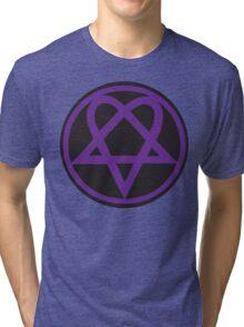 Heartagram - Purple on Black Tri-blend T-Shirt