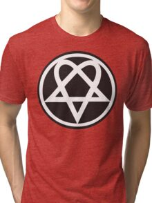 Heartagram - White on Black Tri-blend T-Shirt