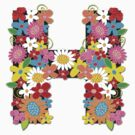 "Spring Flowers Alphabet Monogram ""H"" by fatfatin"