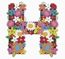 "Spring Flowers Alphabet Monogram ""H"" Kids Tee"