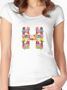"Spring Flowers Alphabet Monogram ""H"" Women's Fitted Scoop T-Shirt"