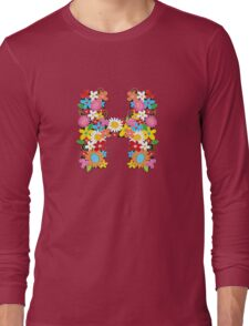 "Spring Flowers Alphabet Monogram ""H"" Long Sleeve T-Shirt"