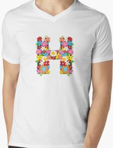 "Spring Flowers Alphabet Monogram ""H"" Mens V-Neck T-Shirt"