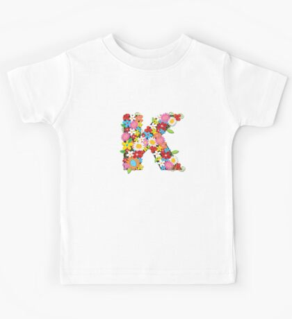 Spring Flowers Alphabet K Monogram Kids Tee