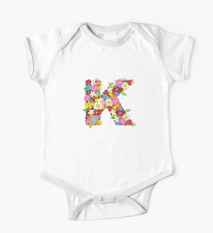 Spring Flowers Alphabet K Monogram One Piece - Short Sleeve
