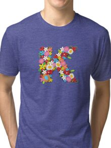 Spring Flowers Alphabet K Monogram Tri-blend T-Shirt