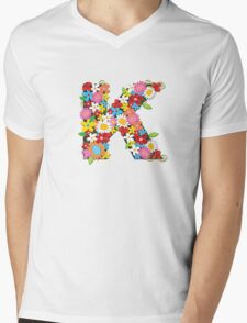 Spring Flowers Alphabet K Monogram Mens V-Neck T-Shirt