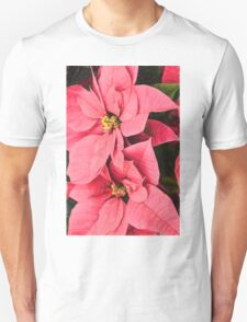 Pink Poinsettias Painting - Christmas Impressions Unisex T-Shirt