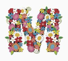 Spring Flowers Alphabet M Monogram Kids Tee