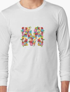 Spring Flowers Alphabet M Monogram Long Sleeve T-Shirt