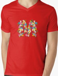 Spring Flowers Alphabet M Monogram Mens V-Neck T-Shirt