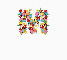 Spring Flowers Alphabet M Monogram Womens Fitted T-Shirt