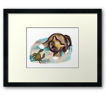 Crab Confrontation with Kitten Framed Print