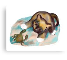 Crab Confrontation with Kitten Canvas Print
