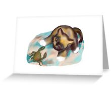 Crab Confrontation with Kitten Greeting Card