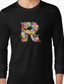 Spring Flowers Alphabet R Monogram Long Sleeve T-Shirt