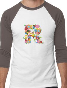 Spring Flowers Alphabet R Monogram Men's Baseball ¾ T-Shirt