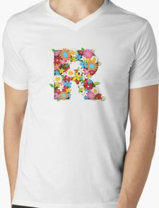 Spring Flowers Alphabet R Monogram Mens V-Neck T-Shirt