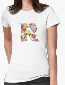 Spring Flowers Alphabet R Monogram Womens Fitted T-Shirt