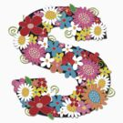 Spring Flowers Alphabet S Monogram by fatfatin