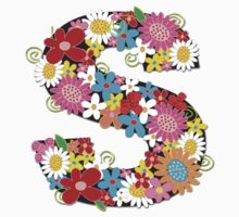Spring Flowers Alphabet S Monogram T-shirt by fatfatin