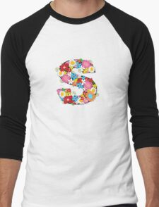 Spring Flowers Alphabet S Monogram Men's Baseball ¾ T-Shirt