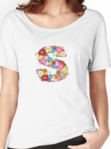 Spring Flowers Alphabet S Monogram Women's Relaxed Fit T-Shirt