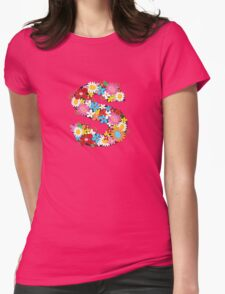 Spring Flowers Alphabet S Monogram Womens Fitted T-Shirt
