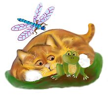 Kitten Hugs a Frog as Dragonfly Buzzes by NineLivesStudio