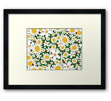 Whimsical Summer White Daisies & Red Ladybugs Framed Print
