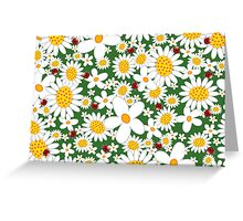 Whimsical Summer White Daisies & Red Ladybugs Greeting Card