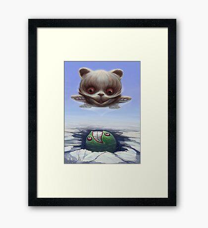 Arctic Flying Possum meets Wrong Fish Framed Print