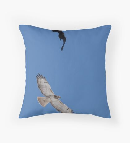 Air Wars.... Hawk and Crow  Throw Pillow