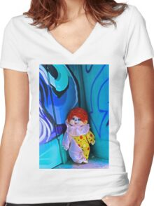 Back Alley Clown Women's Fitted V-Neck T-Shirt
